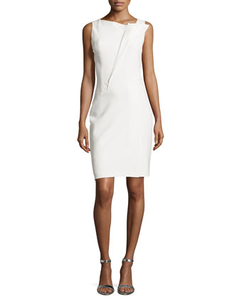 Pleated-Front Detail Dress, Bone