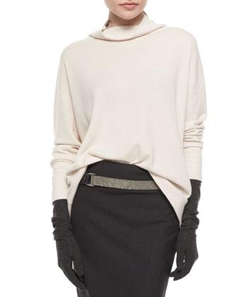 Cashmere Monili Turtleneck Sweater, Cashmere-Blend Gloves & Pencil Skirt ...