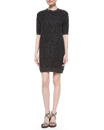 Cashmere Sequined Waffle-Knit Tunic Dress