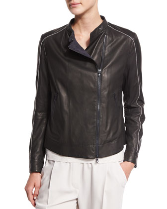 Napa Leather Moto Jacket, Suede Elbow-Patch Cashmere Sweater & Woven Wool ...