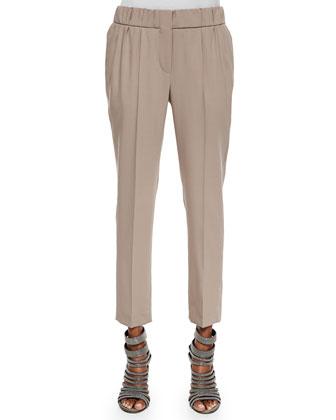 Wool Crepe Pull-on Pants