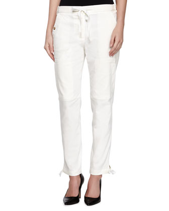 Cargo Pants with Tie, White