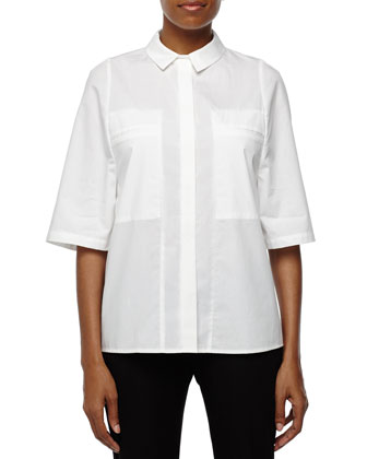 Button-Down Top with Pockets, White