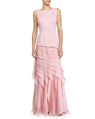 Sleeveless Tiered Evening Gown, Cameo