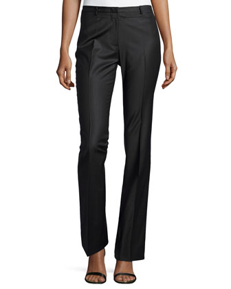 Boot-Cut Tailored Pants, Charcoal