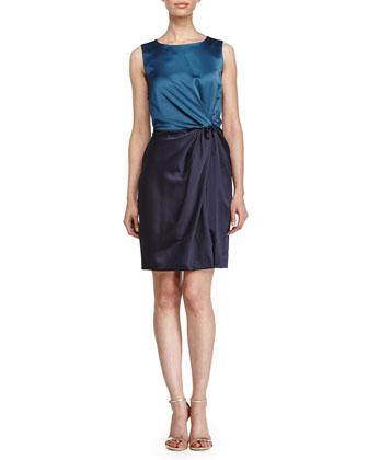 Sleeveless Colorblock Dress, Dark Cadmium/Navy