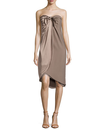Knotted Strapless Wrap Dress, Warm Taupe