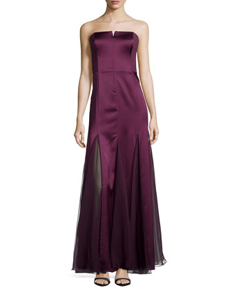 Strapless Gown with Sheer Panels, Bordeaux