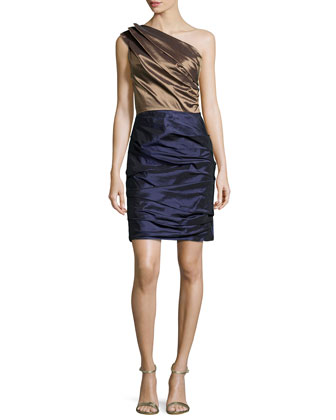 One-Shoulder Pleated Dress, Bronze/Midnight