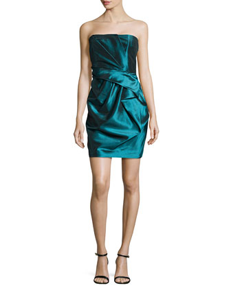 Strapless Ruffled Cocktail Dress, Mallard