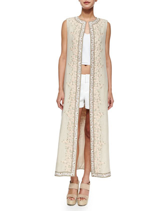 Estee Embroidered Open-Front Long Vest, Beige