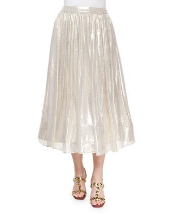Kara Embellished Sweatshirt & Evita Metallic Skirt