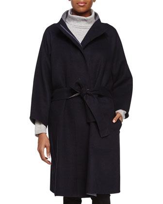 Belted-Waist Coat, Navy/Gray