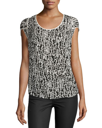 Printed Cap-Sleeve Blouse, Black/White