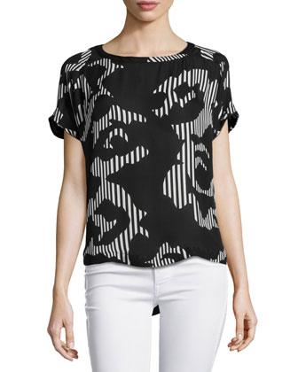 Short-Sleeve Printed Top, Black/Chalk Rose