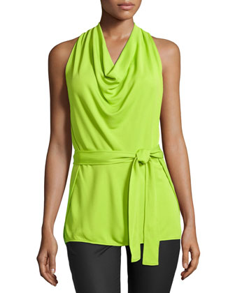 Belted Halter Top, Lime Green