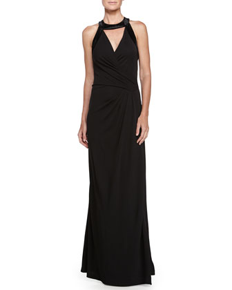 Cutout Detail Evening Gown, Black