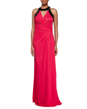 Two-Tone Combo Gown, Ruby/Black