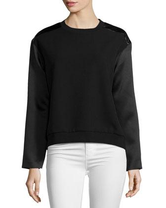 Long-Sleeve Combo Sweater, Black