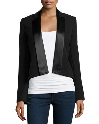 Cropped Suiting Jacket, Black
