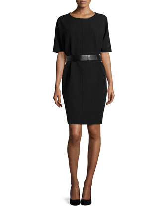 Short Sleeve Structured Dress, Black