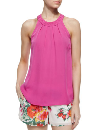 Fantina Braided-Collar Tank Top, Orchid