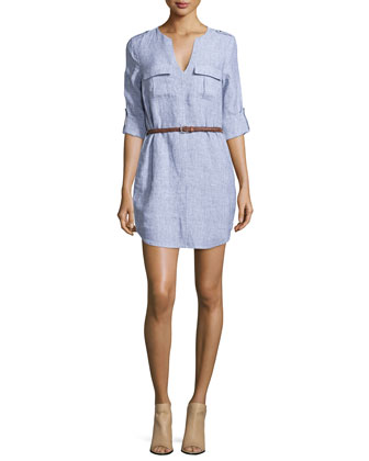 Rathana Belted Linen Dress