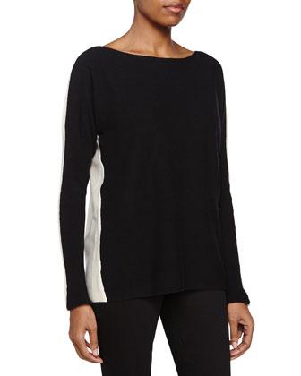 Colorblock Sweater, Black/Cream