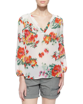Axcel Floral Ikat-Printed Silk Blouse, Porcelain