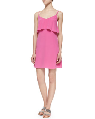 Parthena B Front-Ruffle Silk Dress