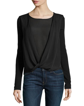 Long-Sleeve Faux-Wrap Top, Black