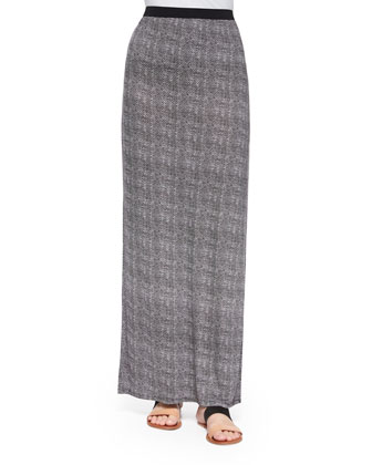 Isleta Silk Blazer & Lakota Textured Tweed-Print Maxi Skirt