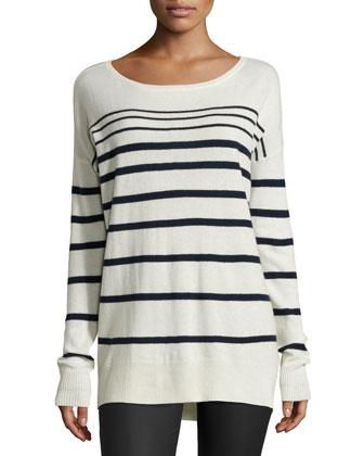 Long-Sleeve Striped Sweater, Chalk/Navy