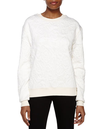 Textured Long-Sleeve Sweater, Chalk
