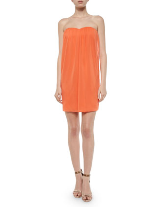 Jazz Center-Drape Strapless Dress, Coral