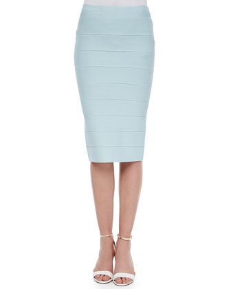Bandage Knit Sweater Skirt, Aqua Mist