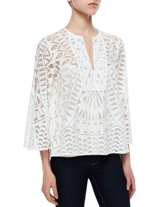 Debi Geometric Mesh Top, Off White