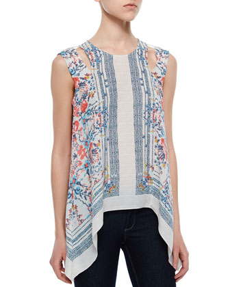 Cutout-Shoulder Cross-Stitch-Print Tank