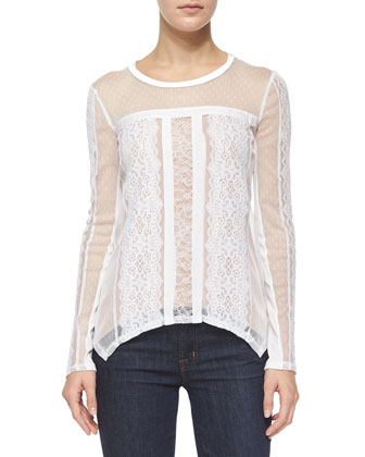 Addyson Mixed-Lace Top, Off White