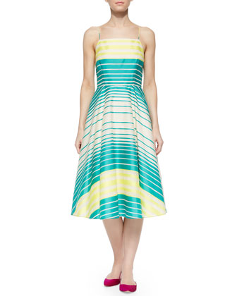 Sleeveless Striped Full-Skirt Dress