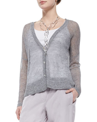 Deep-V-Neck Rustic Sheer Cardigan