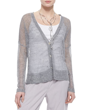 Deep-V-Neck Rustic Sheer Cardigan, Women's