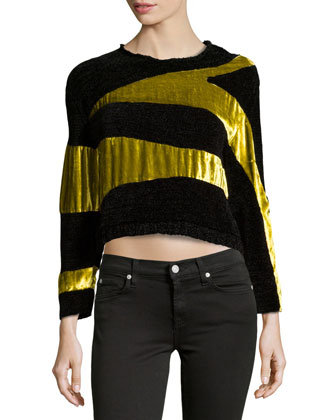 Long-Sleeve Metallic Sweater, Lime/Black