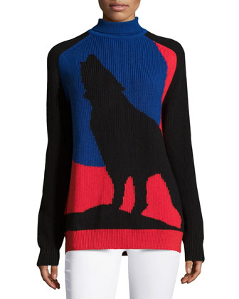 Blue Moon Wolf Sweater, Blue Multi