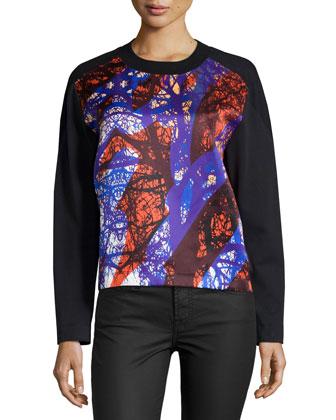 Printed Front-Panel Sweatshirt, Doppio Redwoods