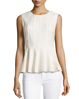 Fitted Combo Peplum Top, Cream