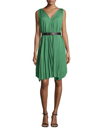 Pleated Asymmetric-Hem Dress, Loden