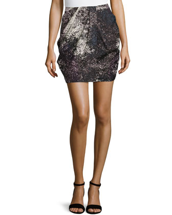 Printed Drape-Front Skirt, Charcoal