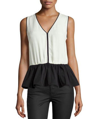 Colorblock Peplum Top, Cream/Black