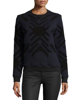 Geometric-Print Applique Sweatshirt, Navy/Black